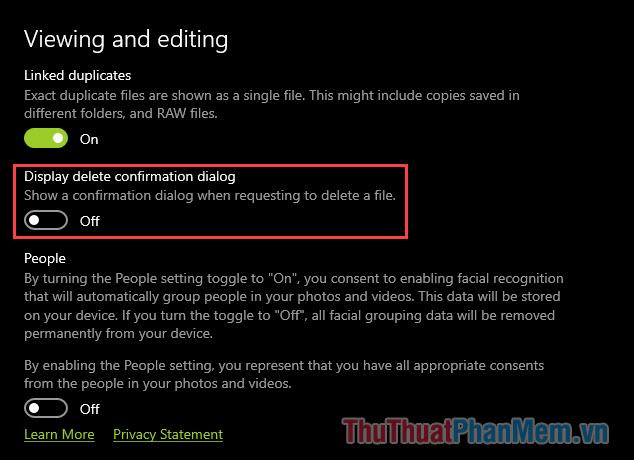 Tắt tính năng Display delete comfirmation dialog