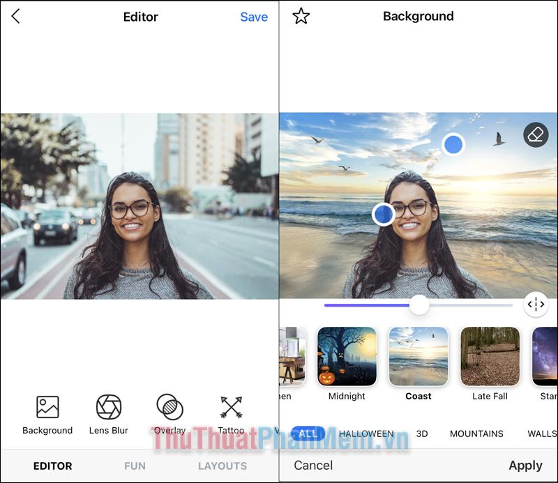 Bạn có thể sử dụng nhiều bộ lọc khác như Backgroud (thay đổi nền), Lens Blur (xóa phông)