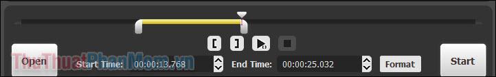 Bạn thấy rằng thanh thời gian màu vàng đã được thu lại đúng bằng thời gian bạn đã cắt