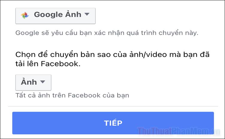 Cách chuyển ảnh Facebook sang Goole Ảnh và Dropbox