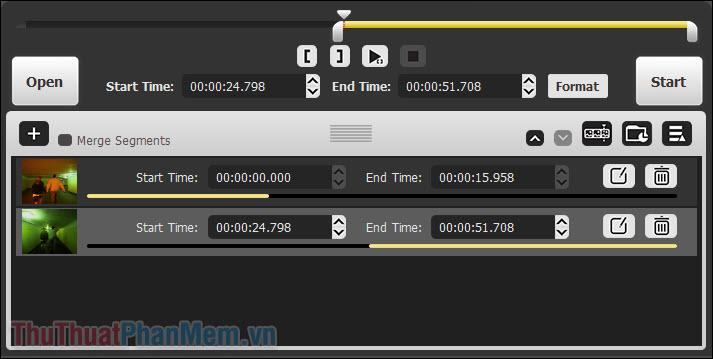 Đưa mũi tên đến nơi bạn muốn video 2 bắt đầu và nhấn Mở ngoặc vuông [