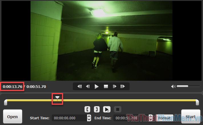 Kéo mũi tên đến điểm bạn muốn video bắt đầu