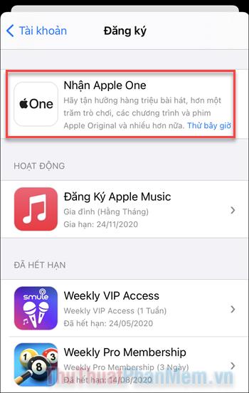 Mục đăng ký Nhận Apple One sẽ xuất hiện ngay trên đầu danh sách