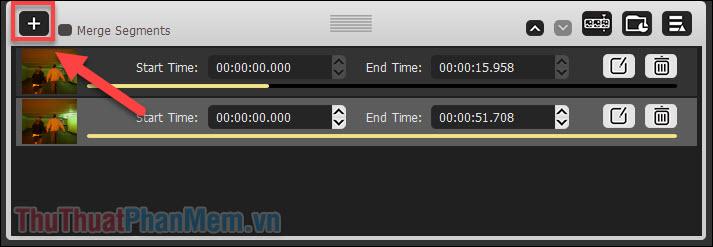 Nhấn dấu + để tạo thêm video 2