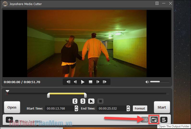 Nhấp vào biểu tượng thư mục (Open the Output Folder) để tìm đến video đã được cắt