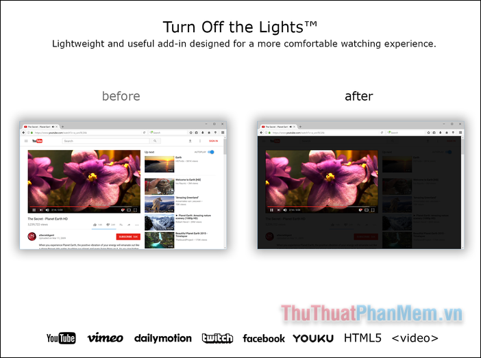 Turn Off the Lights for Youtube