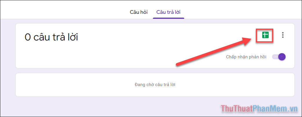 Bạn có thể theo dõi hoạt động của Biểu mẫu trong tab Câu trả lời