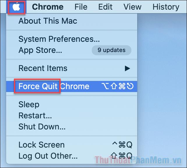 Bạn nhấn vào biểu tượng quả táo ở góc trên cùng và chọn Force Quit để mở tính năng này