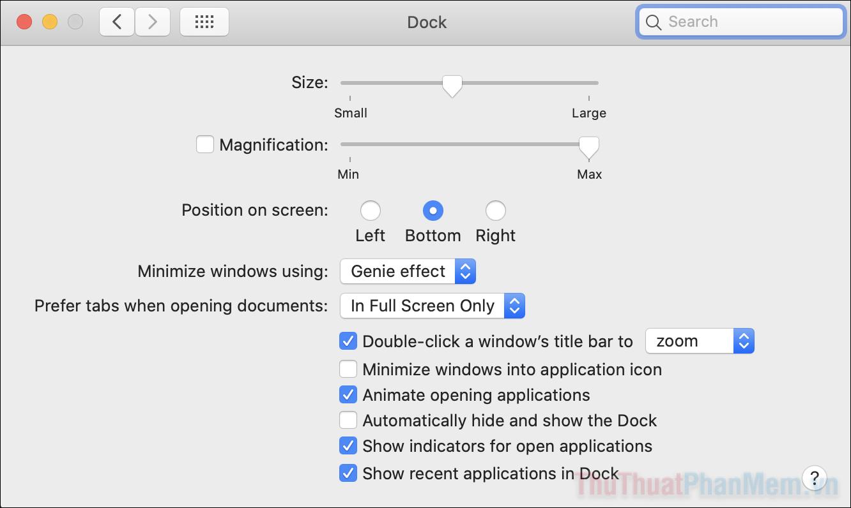 Chọn ẩn thanh dock để nó chỉ xuất hiện khi bạn đưa chuột về phía cuối màn hình
