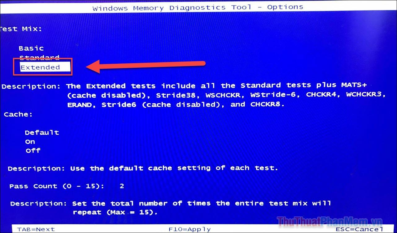 Điều hướng đến Extended và F10 để chạy chế độ kiểm tra lỗi nâng cao