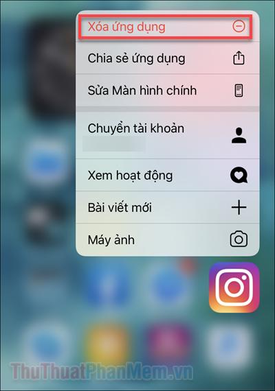 Nhấn giữ vào biểu tượng Instagram và chọn Xóa ứng dụng