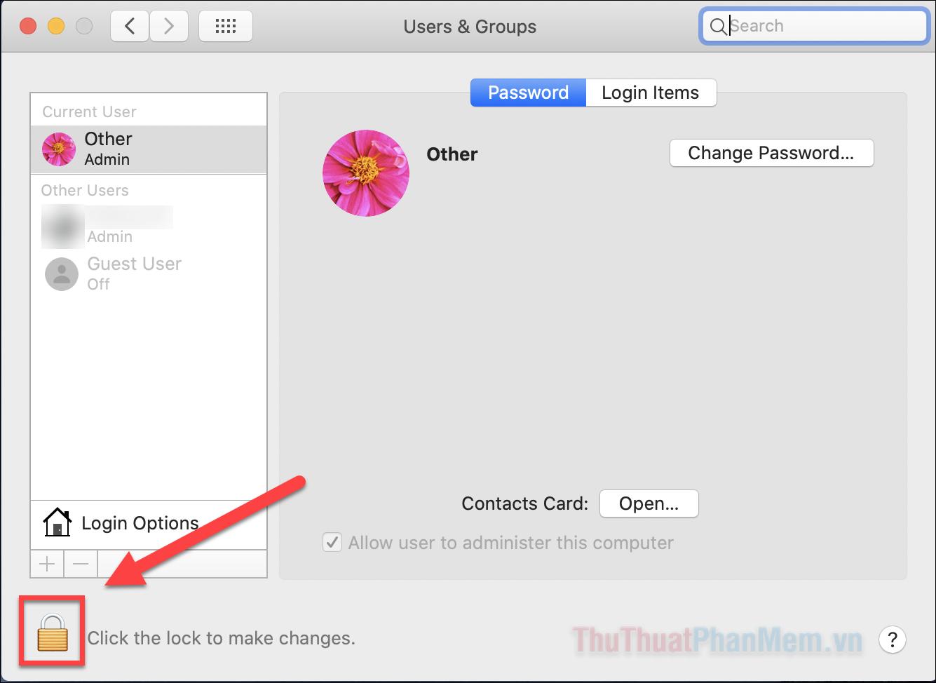 Nhấn vào biểu tượng ổ khóa và nhập mật khẩu người dùng của bạn