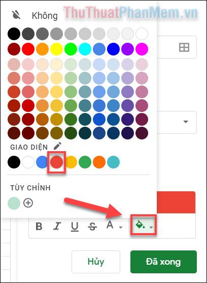 Nhấn vào biểu tượng tô màu và chọn màu đỏ