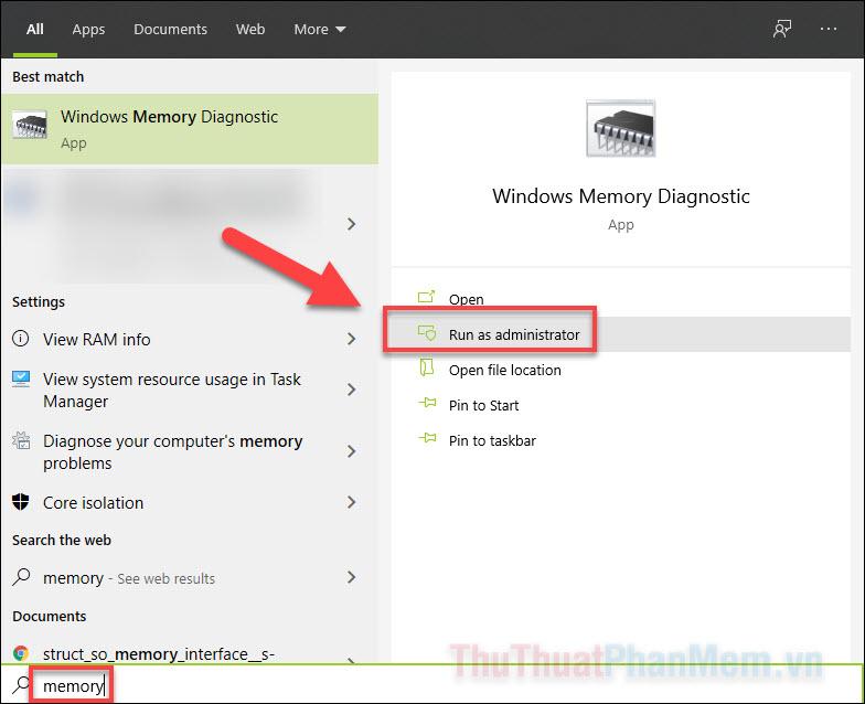 Nhập Memory vào ô tìm kiếm Start rồi chạy ứng dụng này dưới quyền quản trị viên
