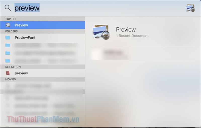 """Nhập """"preview"""" vào ô tìm kiếm để mở ứng dụng này"""