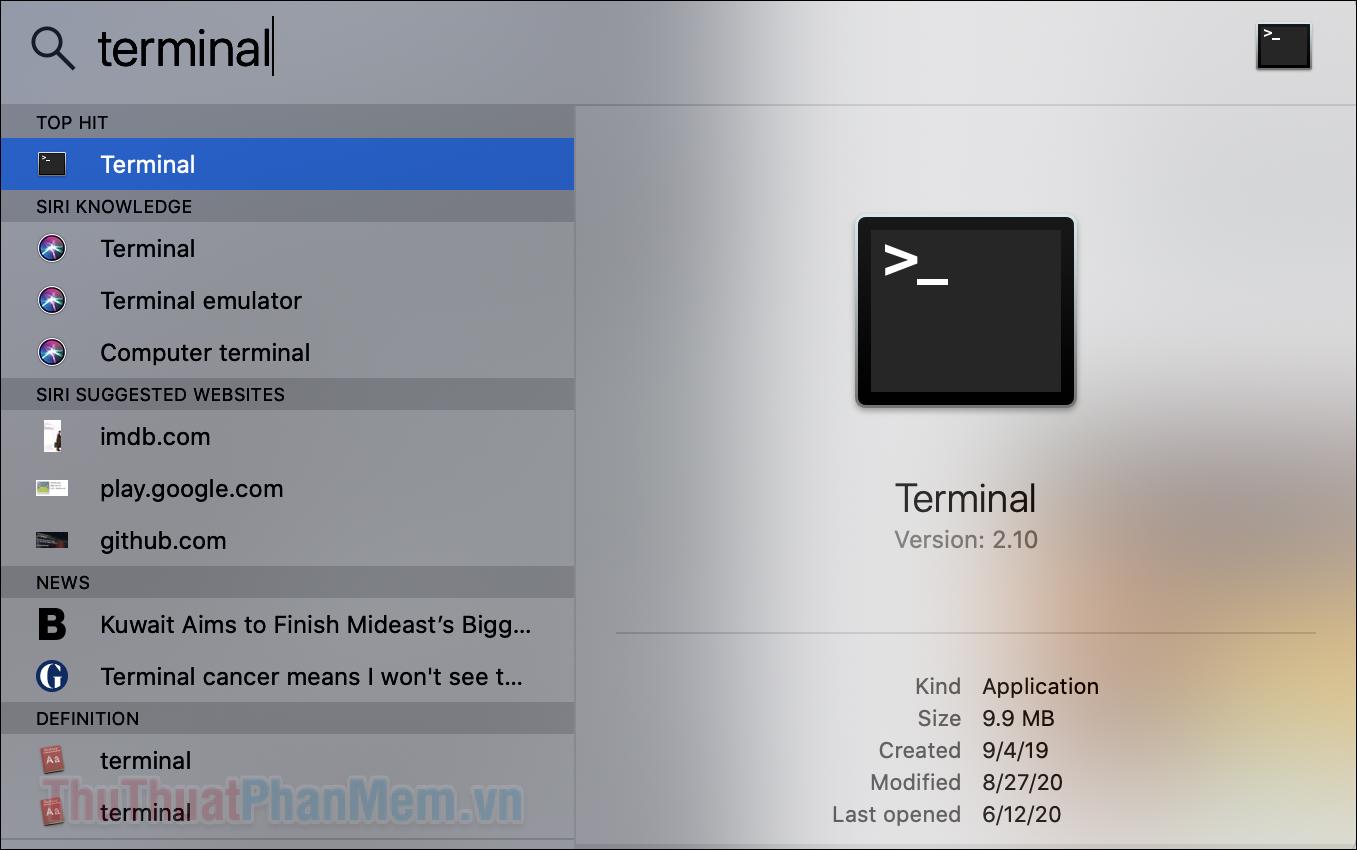 Nhập Terminal vào ô tìm kiếm và mở ứng dụng này