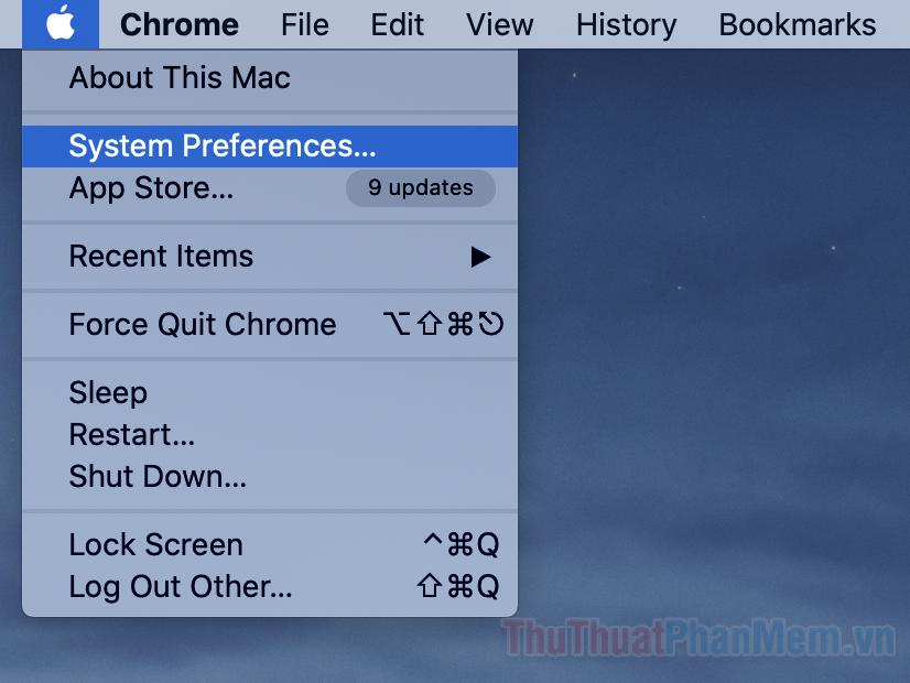Nhấp vào biểu tượng quả táo trên góc màn hình và mở System Preferences