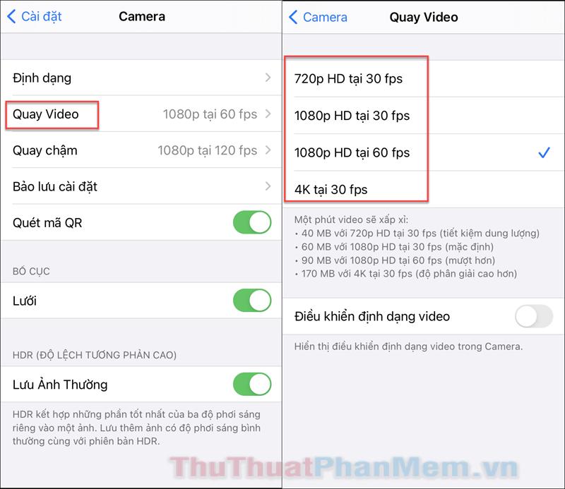 Tìm đến cài đặt Quay Video, sau đó bạn có thể chọn các kích thước video khác nhau