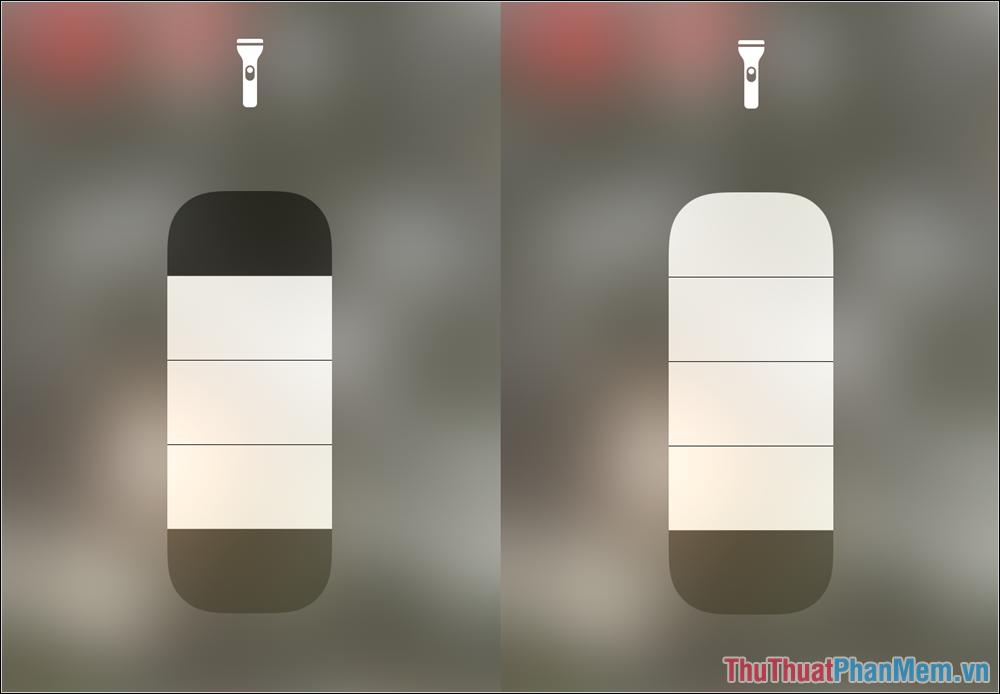Bạn chỉ cần trượt thanh độ sáng đèn Pin để thấy cường độ ánh sáng của đèn Flash thay đổi