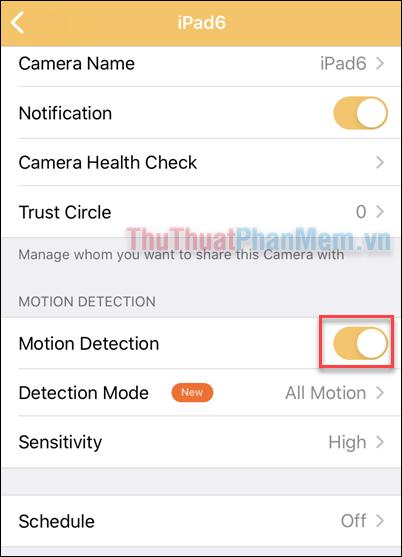 """Tìm dòng """"Motion Detection"""" và gạt công tắt Bật"""