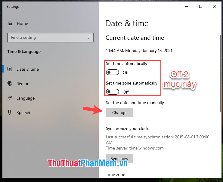 Chọn mục Change trong phần Set the date and time manually