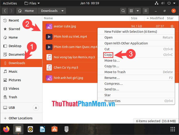 Click chuột phải vào file rồi chọn Copy