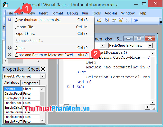 Chọn Close and Return to Microsoft Excel