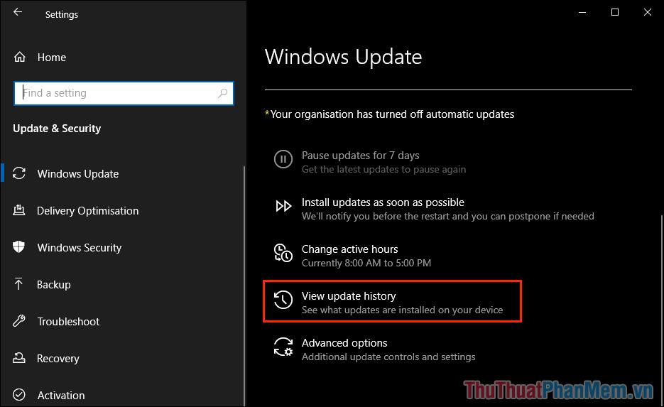 Chọn thẻ View Update History để xem lịch sử cập nhật trên máy tính