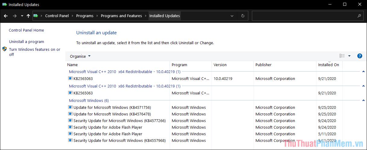 Đây là danh sách các mục được cập nhật bởi Windows 10, các bạn sẽ thấy được cả ngày cập nhật