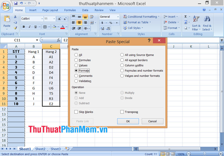 Sử dụng phím tắt mặc định trong Format Painter trên Excel