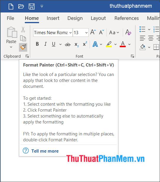 Sử dụng phím tắt mặc định trong Format Painter trên Word