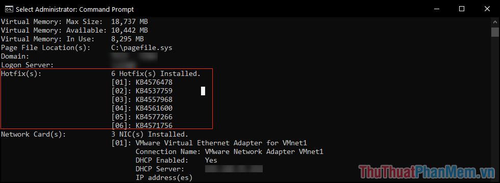 Tìm đến mục Hotfix(s) để xem mã phiên bản của các bản cập nhật