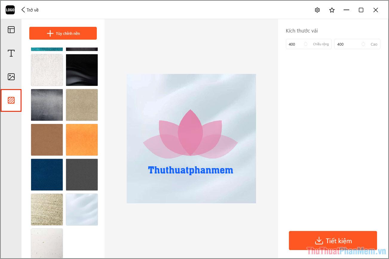Chọn Background trên thanh công cụ bên trái để tìm một hình nền đẹp và phù hợp