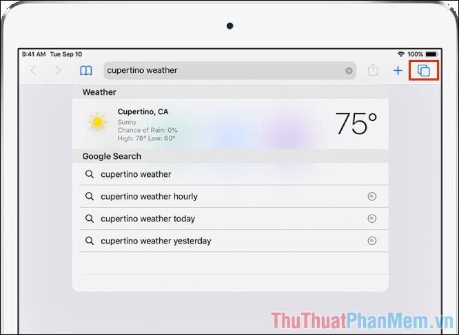 Đối với iPad, biểu tượng Tabs sẽ nằm ở bên cạnh thanh URL của trình duyệt