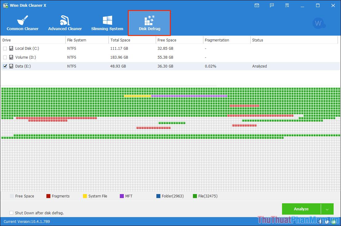 Nhấn vào Analyze để phân tích dữ liệu trên ổ cứng