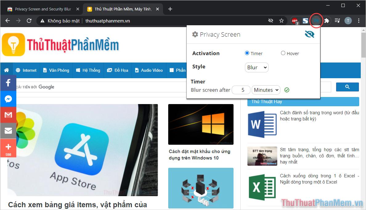 Nhấn vào biểu tượng của Privacy Screen