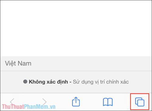 Nhấn vào biểu tượng Tab trên trình duyệt Safari