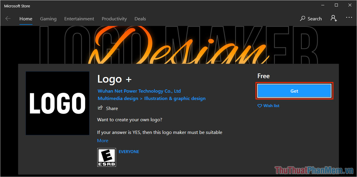 Truy cập trang chủ của Logo+ và chọn Get để tải phần mềm về máy tính