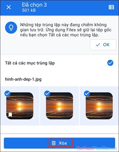 Tiến hành chọn các hình ảnh bị trùng lặp trên điện thoại và nhấn Xóa để hoàn tất
