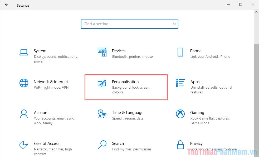 Chọn Personalisation để mở trình quản lý giao diện của Windows