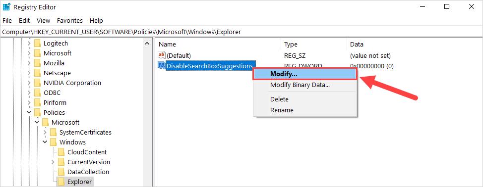 Click chuột phải vào file DisableSearchBoxSuggestions vừa mới tạo và chọn Modify