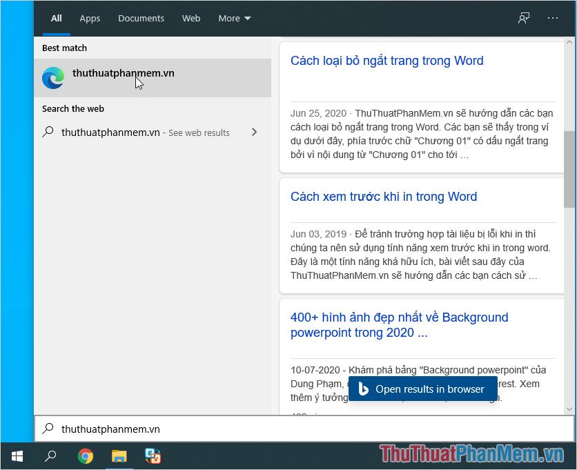 Công cụ Bing luôn nằm trong đề xuất của Search Windows 10