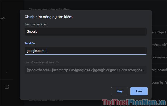 Các nội dung có thể chỉnh sửa bao gồm Tên công cụ tìm kiếm, từ khóa, URL truy vấn