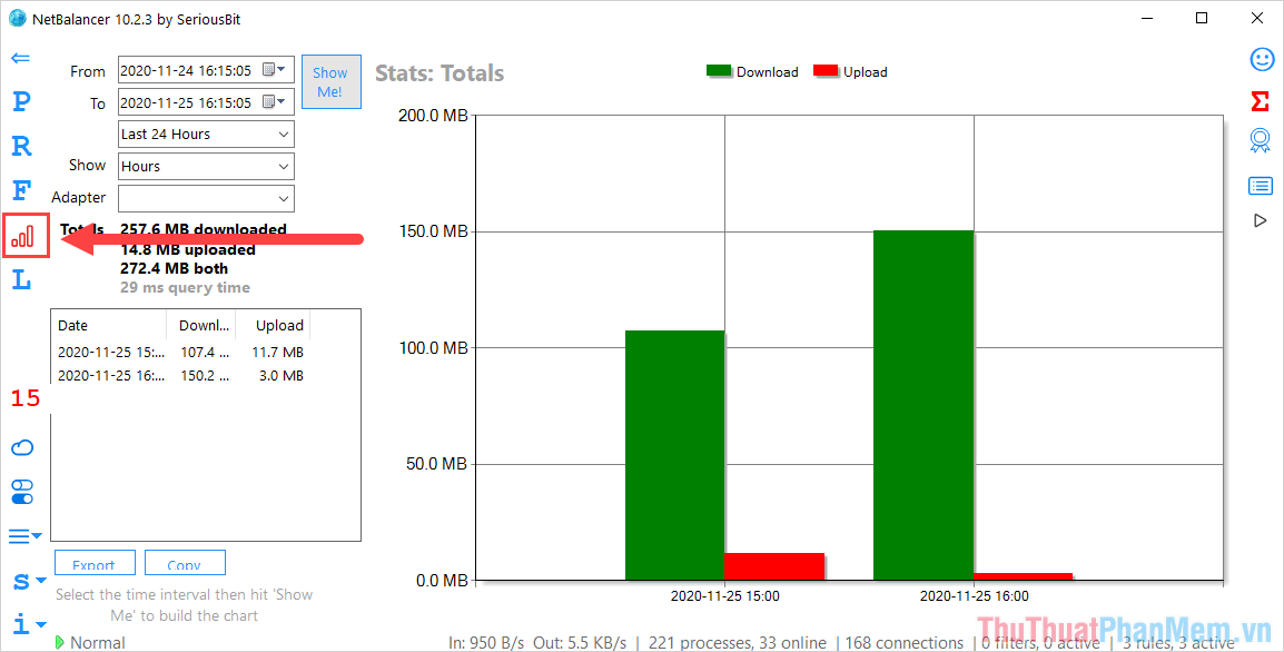 Chọn thẻ Statistics để mở trình quản lý băng thông trên phần mềm Net Balancer
