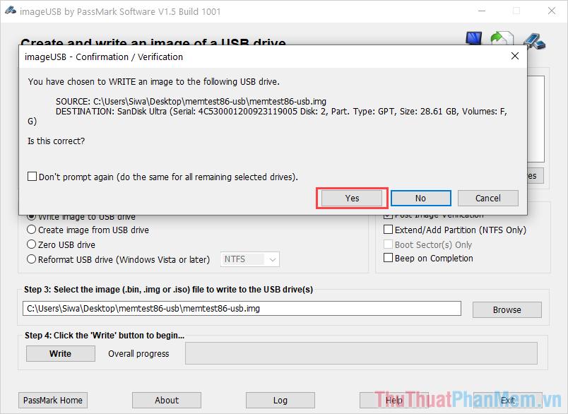Chọn Yes để hệ thống khởi chạy và chép dữ liệu vào USB của các bạn