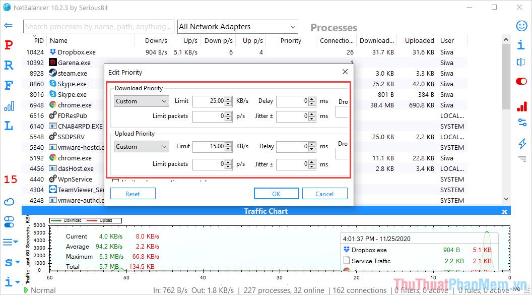 Chuyển về chế độ Custom và thiết lập thông số dữ liệu tải lên tải xuống
