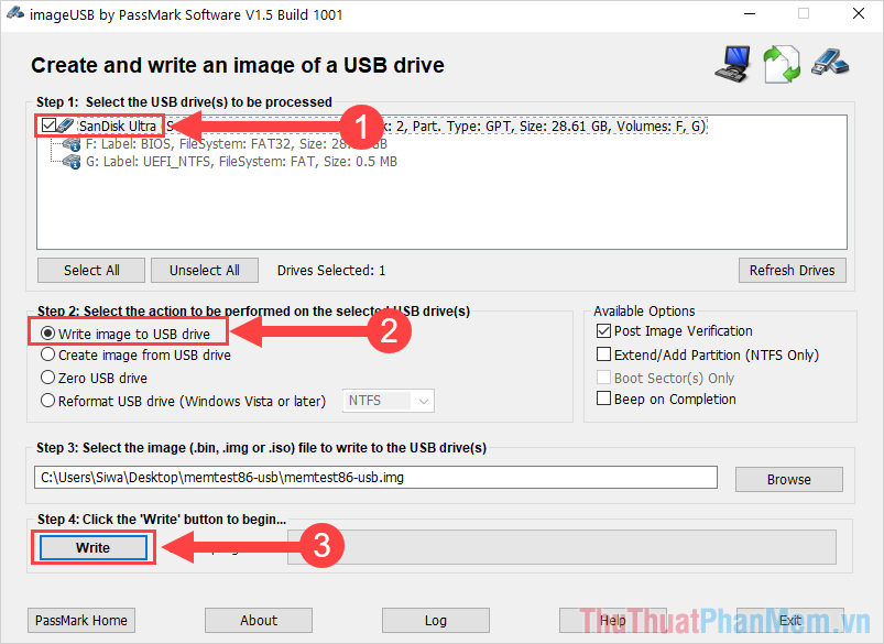 Thiết lập Create and write an image of a USB drive