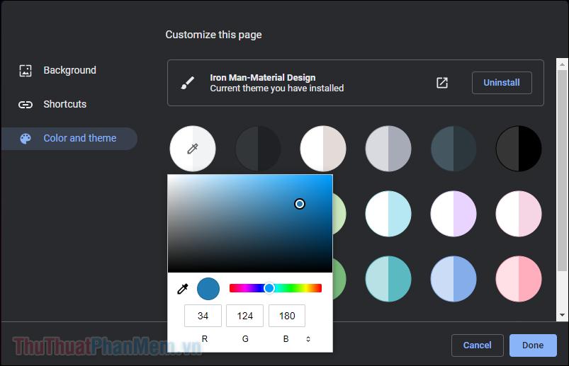 Chọn phần Color and theme ở bên trái để thay đổi màu chủ đề
