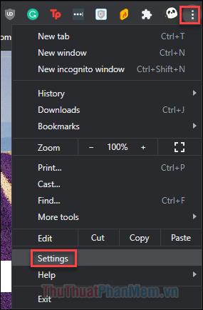 Nhấn vào dấu 3 chấm rồi chọn mục Settings