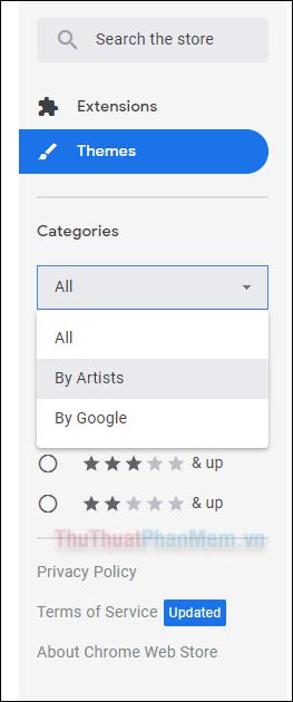 Phần chọn sao sẽ giúp bạn tìm thấy các chủ đề có hạng đánh giá nhất định, từ 1 đến 5 sao
